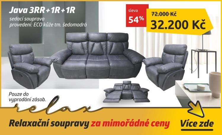 JAVA Relaxační sedací souprava 3+1+1, tmavě šedá