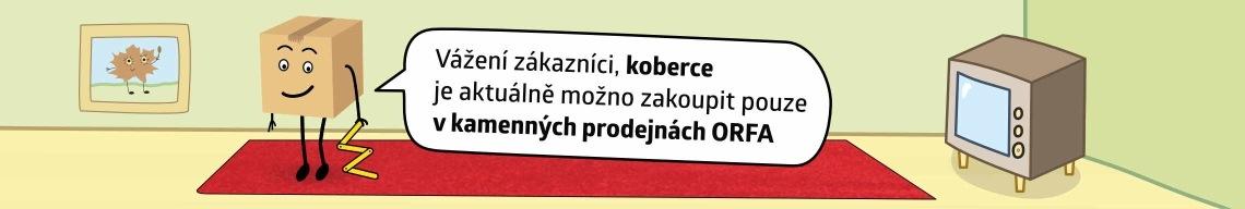 Koberce je možno aktuálně zakoupit pouze v kamenných prodejnách ORFA nábytek