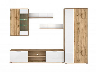 Zele Obývací stěna, dub wotan/bílý lesk