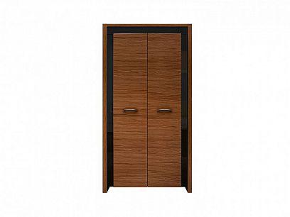 Arosa šatní skříň SZF2D, dub braz/černý lesk