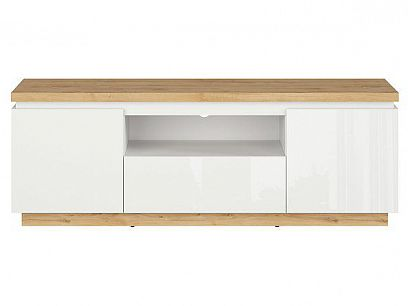 ERLA televizní stolek RTV2D1S bílá/dub minerva/bílý lesk