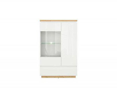 ERLA vitrína REG1D1W1S bílá/dub minerva/bílý lesk