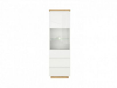 ERLA vitrína REG1W2S bílá/dub minerva/bílý lesk