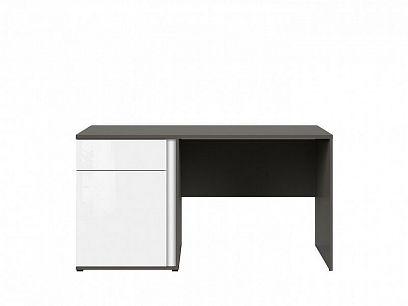 Graphic II Psací stůl BIU1D1SL/C šedý wolfram/bílý vysoký lesk