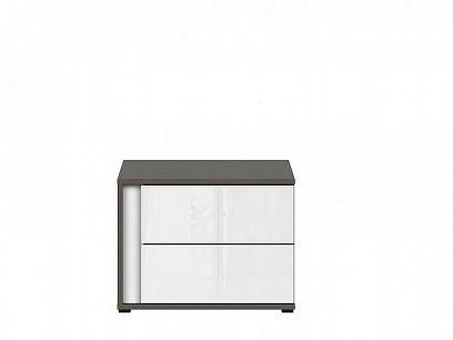 Graphic II Noční stolek KOM2SP/C šedý wolfram/bílý vysoký lesk