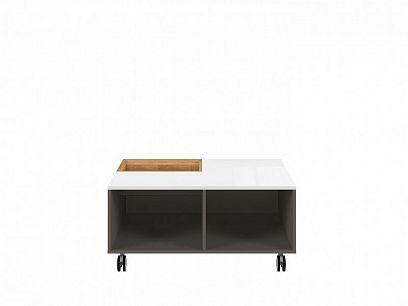 Graphic II konferenční stolek, LAW/90 šedý wolfram/bílý vysoký lesk/přírodní dub