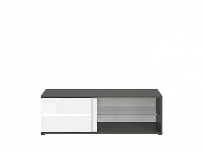 Graphic II Televizní stolek RTV2S/120/C šedý wolfram/bílý vysoký lesk