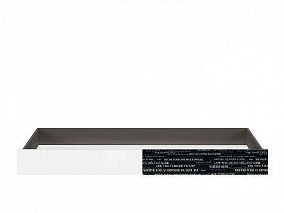 Graphic II Šuplík SZU/C, šedý wolfram/černá s potiskem/bílý vysoký lesk
