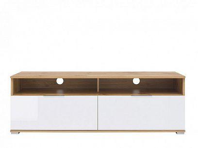 Zele Televizní stolek RTV2S, dub wotan/bílý lesk