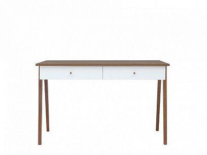 Heda Psací stůl BIU2S, Bílá/modřín sibiu zlatý/bílý lesk