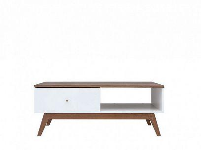 Heda Konferenční stolek LAW1S, Bílá/modřín sibiu zlatý/bílý lesk