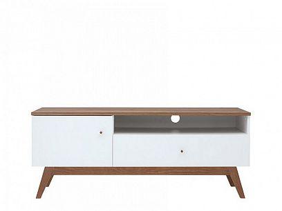 Heda Televizní stolek RTV1D1S, Bílá/modřín sibiu zlatý/bílý lesk