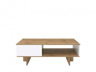 Zele konferenční stolek LAW/120, dub wotan/bílý lesk