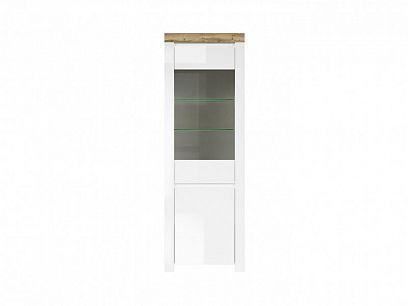 HOLTEN vitrína REG1D1W, bílá/dub wotan/bílý lesk