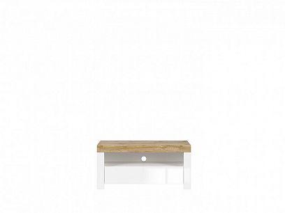 HOLTEN Televizní stolek RTV1S, dub wotan/bílý lesk