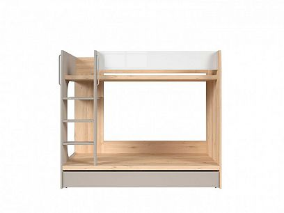 NAMEK dvoupatrová postel, buk iconic/bílý lesk/šedá