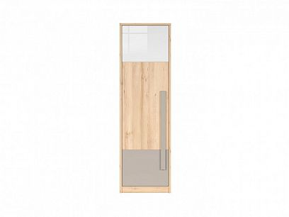 NAMEK šatní skříň SZF1D, buk iconic/bílý lesk/šedá