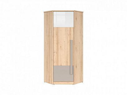 NAMEK rohová šatní skříň SZFN1D, buk iconic/bílý lesk/šedá