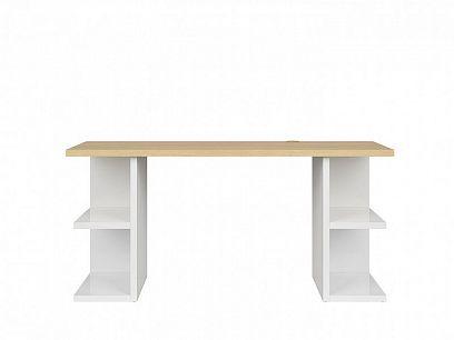 DENTON psací stůl BIU/160, bílý lesk/dub polský