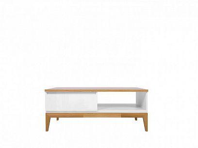KIOTO Konferenční stolek LAW1S, bílá/bílý lesk/dub přírodní