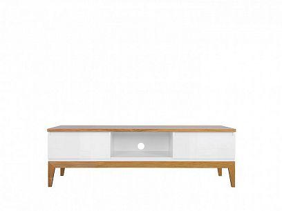 KIOTO televizní stolek RTV2S, bílá /bílý lesk/dub přírodní
