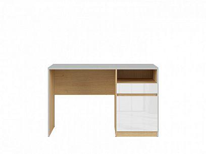NANDU psací stůl, BIU1D1S šedá/dub polský/bílý lesk