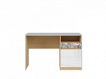 NANDU psací stůl, BIU1D1S  šedá/dub polský/bílý lesk/nálepka