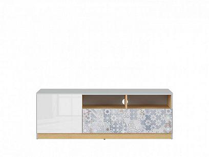 NANDU televizní stolek RTV1D1S, šedá/dub polský/bílý lesk/arabeska
