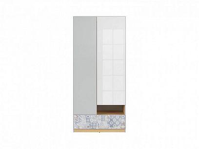 NANDU  skříň SZF2D1S, šedá/dub polský/bílý lesk/arabeska