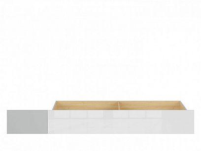 NANDU šuplík pod postel SZU, šedá/dub polský/bílý lesk/bílý lesk