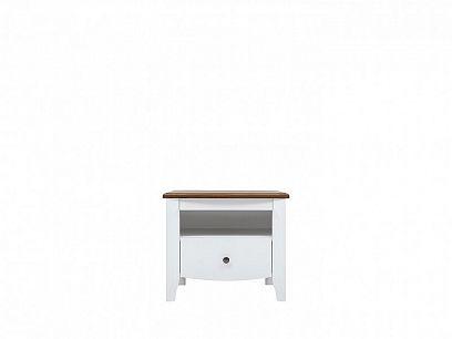 KALIO Noční stolek KOM1S, bílý lesk/akát zlatý/bílý lesk