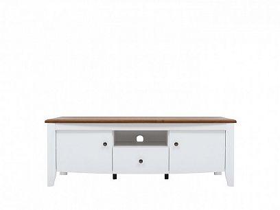 KALIO televizní stolek RTV2D1S, bílý lesk/akát zlatý