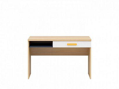 WESKER psací stůl BIU1S, dub nagano/uni granat/bílý lesk