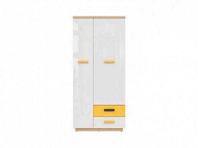 WESKER šatní skříň SZF2D2S, dub nagano/bílý lesk/žlutá