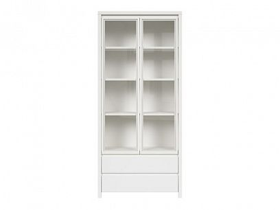KASPIAN vitrína REG2W2S, bílá/bílý mat