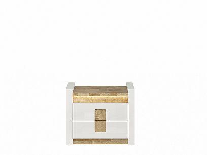 ALAMEDA noční stolek KOM2S, bílý lesk/dub westminster