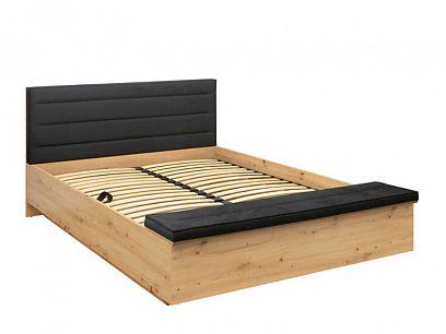 OSTIA postel LOZ/160/B, dub artisan/černá