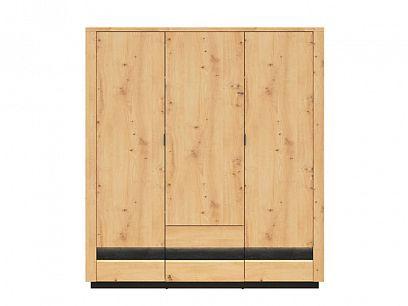 OSTIA šatní skříň SZF3D2S, dub artisan/černý lesk