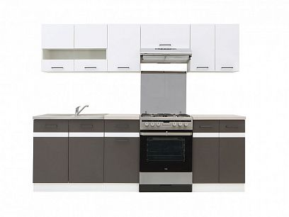 Kuchyň Junona Modul 240, Bílý lesk/šedý wolfram