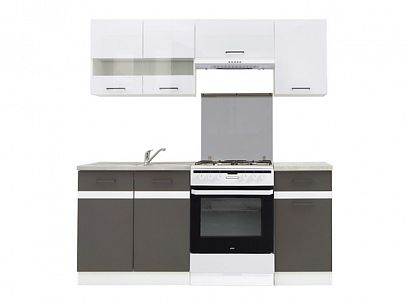 Kuchyň Junona Modul 180, bílá/bílý lesk/šedý wolfram