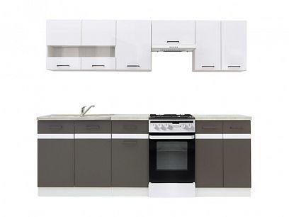 Kuchyň Junona Modul 230, bílá/bílý lesk/šedý wolfram