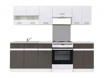 Kuchyň Junona Modul 240, bílá/bílý lesk/šedý wolfram