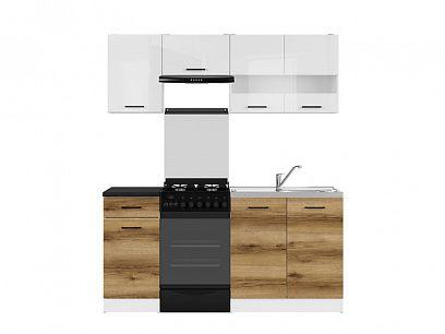 Kuchyň Junona Modul 170, bílá/bílý lesk/dub delano světlý