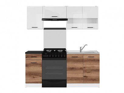 Kuchyň Junona Modul 180, bílá/bílý lesk/dub delano tmavý