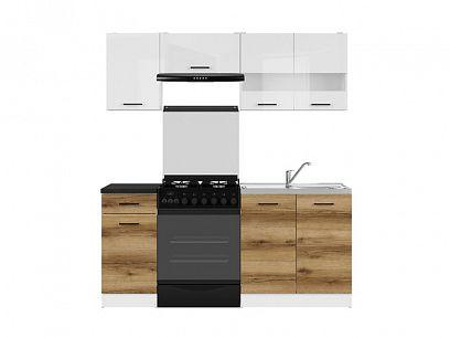Kuchyň Junona Modul 180, bílá/bílý lesk/dub delano světlý