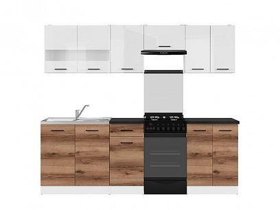 Kuchyň Junona Modul 230, bílá/bílý lesk/dub delano tmavý