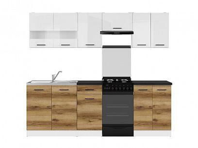 Kuchyň Junona Modul 230, bílá/bílý lesk/dub delano světlý
