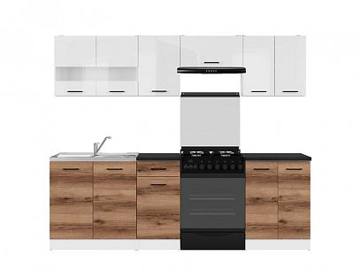 Kuchyň Junona Modul 240, bílá/bílý lesk/dub delano tmavý