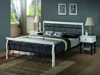 Venecia Kovová postel 160 bílá/černá
