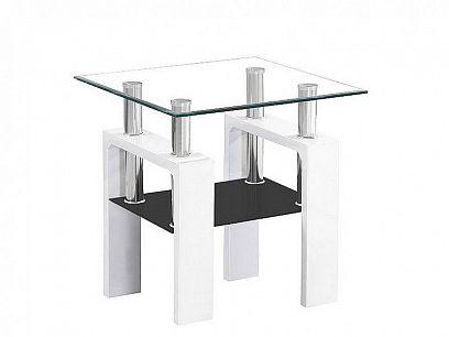 Lisa D Konferenční stolek, Bílá lak MDF/sklo/police černá